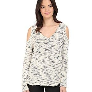 LNA Speckled Cold Shoulder Cotton Crewneck Sweater